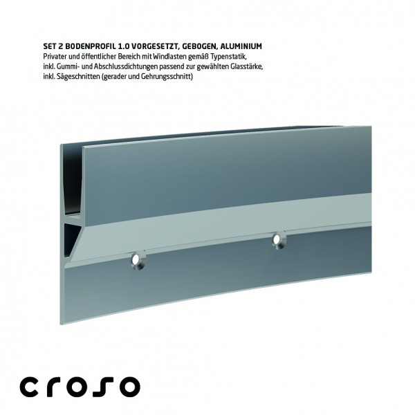 Set 2 Bodenprofil 1.0, Curve-Line, vorgesetzt, pressblank, Glasstärke 20,76-21,52mm