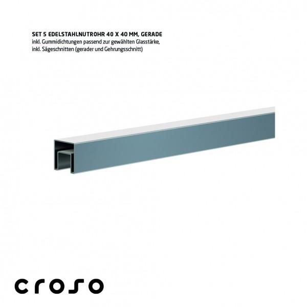 Set Nutrohr vierkant 60x40mm, biegefähig V2A, geschliffen, Glas 12,00-12,76/15mm