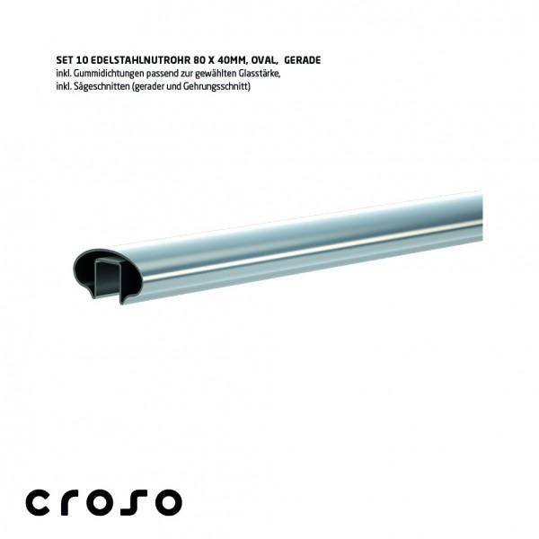 Set Nutrohr oval 80x40mm, biegefähig V2A, geschliffen, Glas 24,76-25,52mm