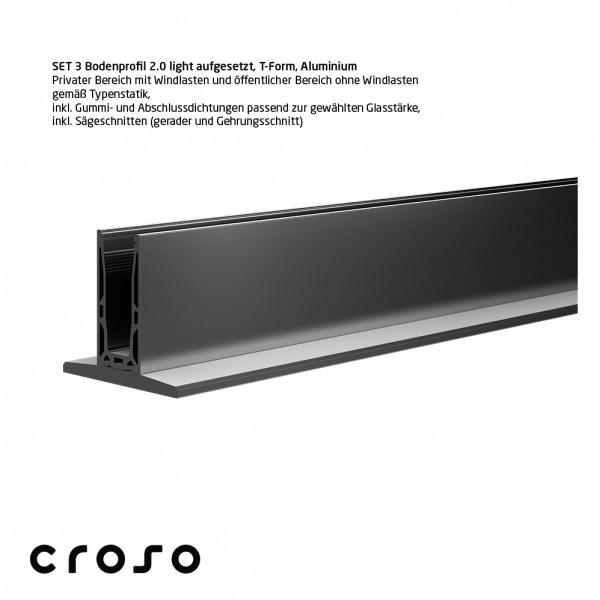 Set 3 Bodenprofil 2.0 light, aufgesetzt, T-Form, E6/EV1, Glas 20,76-21,52mm