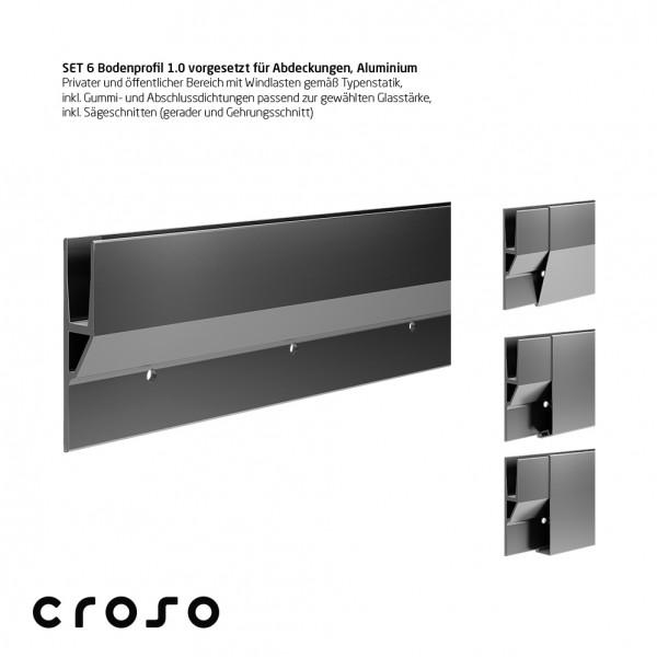 Set 6 Bodenprofil 1.0, vorgesetzt f. Abd., 1,0kN, pressblank, Glas 10,00-10,76mm