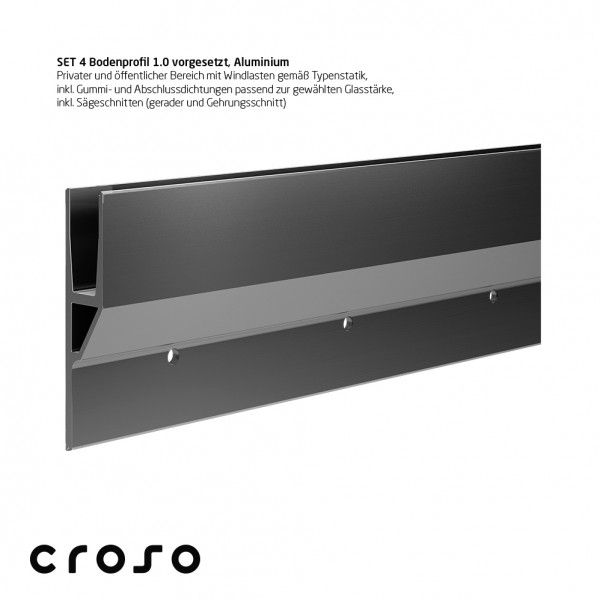 Set 4 Bodenprofil 1.0, vorgesetzt, 1,0kN, Edelstahleffekt, Glas 20,76-21,52mm