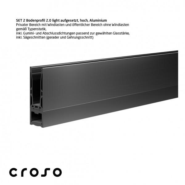 Set 2 Bodenprofil 2.0 light, aufgesetzt, hoch, pressblank, Glas 24,76-25,52mm