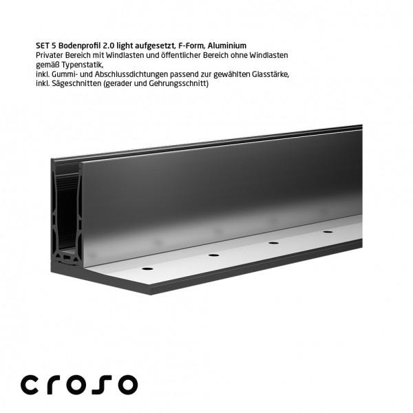 Set 5 Bodenprofil 2.0 light, aufgesetzt, F-Form, E6/EV1, Glas 24,76-25,52mm
