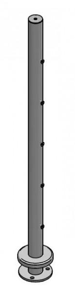 Pfosten Querstab aufgesetzt, Ø42,4, 5 Traversen