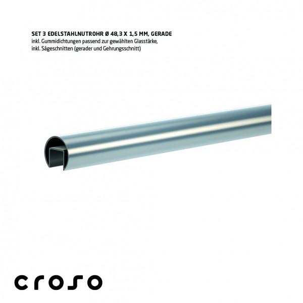 Set Nutrohr Ø48,3x1,5mm, biegefähig V2A, geschliffen, Glas 24,76-25,52mm